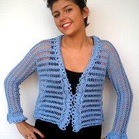 Clear Blue   Lace Cardigan Trendy Hand Crocheted Woman Sweater Tunic  Cardigan NEW