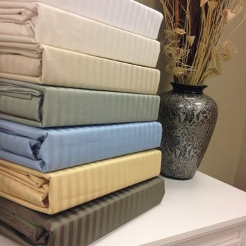 Full Wrinkle Free 650 Thread Count Combed cotton Stripe Sheet Sets