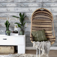Horizontal Vintage Grey Wood Style PEEL & STICK Repositionable  Fabric Wallpaper