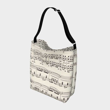 Sheet Music Tote Bag, White and Black musical, singer, musician gift, notes, treble clef, composer,  all day bag, music major accessories