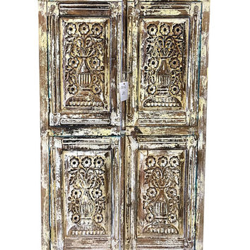 Antique Distressed Cabinet Chest Cupboard Floral Carved Armoire Indian Furniture