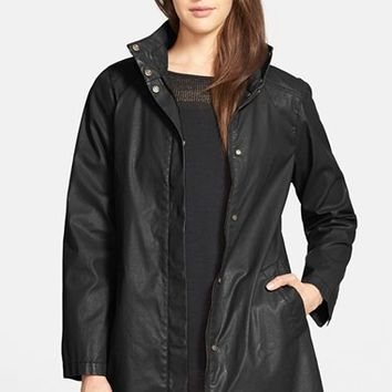 Women's Eileen Fisher Waxed Cotton Stand Collar A-Line Jacket,