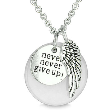"Angel Wing and Inspirational ""Never Never Give Up"" Amulet White Snowflake Quartz Pendant 18 Inch Necklace"
