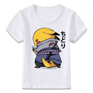 Kids Clothes T Shirt Chidori Sasuke Naruto Pikachu  T-shirt for Boys and Girls Toddler Shirts TeeKawaii Pokemon go  AT_89_9