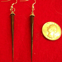 Porcupine Quill Earrings Shiny Black Cruelty Free