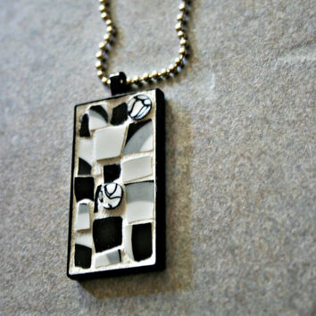Etsy Mosaic Pendant - Nora - Broken China, Stained Glass, Retro, Wearable Art, Unisex, Grey Black White, Vintage, Minimalist, Gift Idea