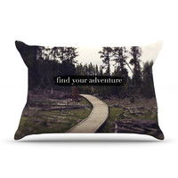 "Leah Flores ""Find Your Adventure"" Nature Quote Pillow Case"