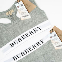 Burberry Women Sports Set Vest Tan Top With Legging Trouser Two Piece Suit Grey