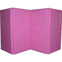 "PINK 1.5"" Thick We Sell Mats Gymnastics Tumbling Exercise Folding Martial Arts Mats with Hook and Loop Fasteners on 4 sides Crosslink PE Foam Core"