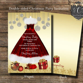 Christmas Party Invitation, Christmas Party Invitations, Red and Gold Invitation, Christmas Party invite, Christmas Party invites, Holiday