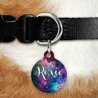 Space Galaxy Pet ID Tag, Lost Dog Tag, Pet Name Tag, Custom Pet Tag, Dog Tag Collar, Round Bone Personalized Double Sided