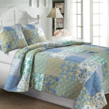 Greenland Home Vintage Jade 68-Inch by 88-Inch Twin Quilt Set