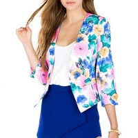 Women's Fit Casual Floral Vintage Flower Print Slim Blazer Coat Jacket