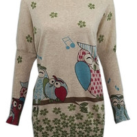 Singing Owls print top jumper knitwear shirt womens ladies cardigan