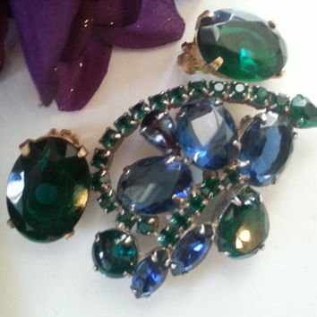 Blue Green Rhinestone Brooch Earring Set, Vintage Chunky Demi Parure, 1950's 1960's High End Jewelry, Old Hollywood Glamour