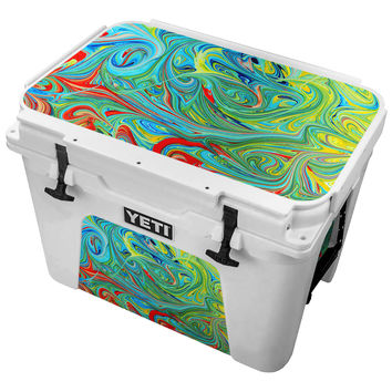 Multicolored Neon Paint Swirls Skin for the Yeti Tundra Cooler