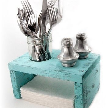 Napkin Holder wood primitive table organizer Light by OldNewAgain