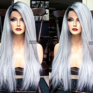 "USA // 24"" Long Silver Gray Yaki Texture Ombre Lace Front & Part HEAT Safe White Grey Wig w/ Dark Root"
