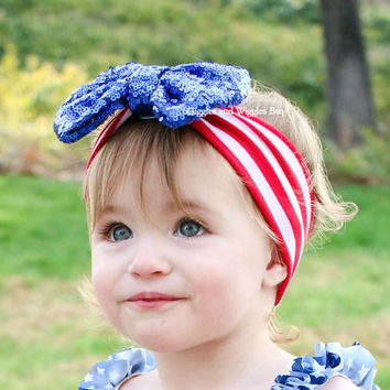 2b061cfc3 Baby head wrap, sequin bow headbands, 4th of July headband, red white and