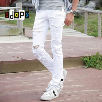 Mens White Ripped Jeans With Holes Super Skinny Slim Fit Destroyed Distressed Denim Pants
