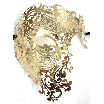 Evil Gold Black Silver Halloween Half Face Skull Party Masks Rhinestones Phantom Metal Venetian Masquerade Mask Women Men Props