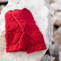 ONE DAY SALE Knit fingerless gloves, lace wool arm warmers / wrist warmers, spring fashion accessories, red