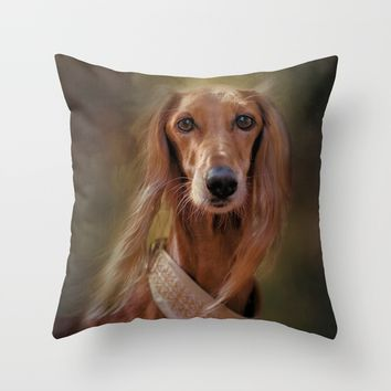 Saluki Portrait Of The Ancient Hound Throw Pillow by Theresa Campbell D'August Art