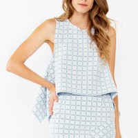 Blue Grid Print Trapeze Top