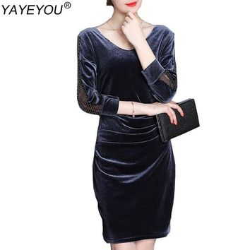 YAYEYOU 2017 Velvet Pencil Dresses Elegant Office Autumn Spring Long Sleeve Work Wear Plus Size Dress Hot Sale for Ladies