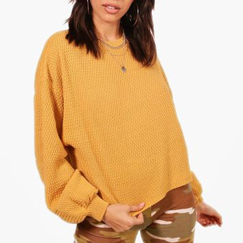 Isabel Oversized Wide Sleeve Crop Jumper | Boohoo