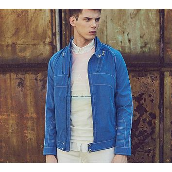 Men Casual Jacket Men Denim Jacket Outdoors Fashion Long Sleeve Leisure Personality Slim Fit Blue Coat