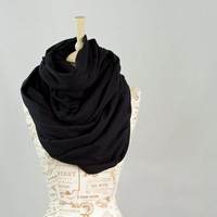 Chunky Infinity Scarf, Black Oversized Cowl Scarf, Hooded Black Circle Scarf, Extra Large Jersey Circle Shawl Scarf, Large Scarves