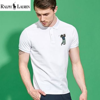 Hot Sale RALPH LAUREN Mens Golf Bear Polo Shirt 100% COTTON TOP