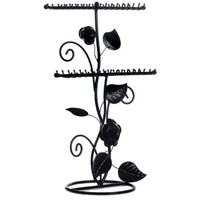MyGift® Vintage Black Rose and Leaf Design Metal Bracelet Necklace Hanger Ring Holder Jewelry Organizer
