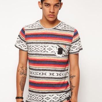 B Side By Wale Vivid Tee Aztec Print Chest Pocket