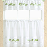"""Spring Leaf Embroidered Kitchen Curtain Set: One Valance (60"""" x 14"""") and Two Tiers (30"""" x 36"""" x 2PCS) - Sage"""