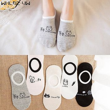 WHLYZ YW 10pieces=5pairs=1lot spring and summer invisible sock woman breathable cool Sock Slippers meias mulheres boat socks