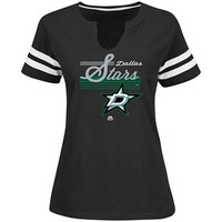 Womens Goal Cage Short Sleeve Split Neck Crew Tee - Dallas Stars | Majestic Athletic Official Store