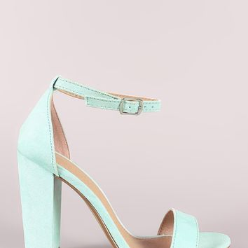 Suede Ankle Strap Open Toe Chunky Heel
