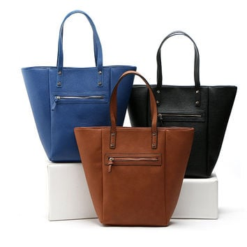AF628 Cozy Casual solid quilted patchwork zip PU Women lady girl handbag shopper tote bag casual tote MG