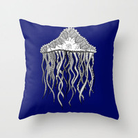 Blue Jellyfish Throw Pillow - Double Sided Throw Pillow - Faux Down Insert - Illustrated Pillow Cover