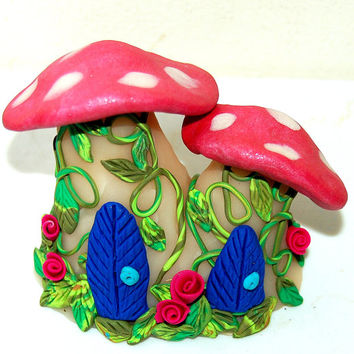 Toadstool Fairy House, Fairy Home, Mushroom House, Fairy Art, Enchantment Miniature Magical Mushroom Fairy Home