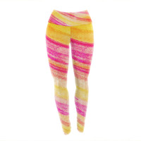"Ebi Emporium ""All That Jazz"" Yellow Pink Yoga Leggings"