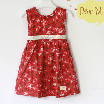Girl Christmas Dress, Snowflake dress, red and gold dress, toddler dress, christmas gift