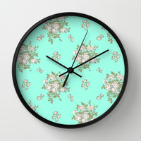 Mint Floral Wall Clock by Pink Fox Designs