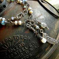 Sterling, Pearl & Opalite Necklace . Chainlink Wirewrap Necklace . Feather Charm Necklace