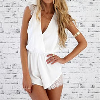 Fashion Casual Female Solid Color Sleeveless Lace Stitching Deep V-Neck Shorts Jumpsuit Pants