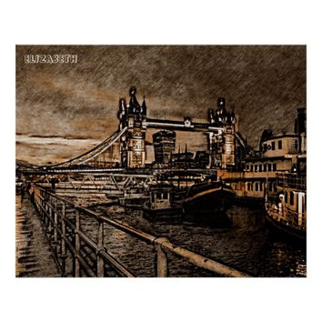 Vintage London Tower Bridge In Rainy Day Drawing Poster