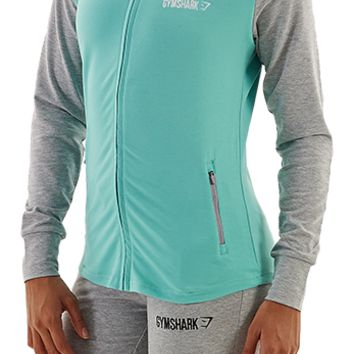 Gymshark FIt Hoodie - Grey Marl/Mint Green - Hoodies - Womens