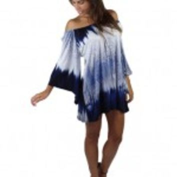 Navy Tie Dye Off The Shoulder Dress - Yakima